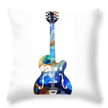 Vintage Guitar - Colorful Abstract Musical Instrument Throw Pillow by Sharon Cummings