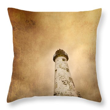 Vintage Lighthouse Throw Pillow by Meirion Matthias