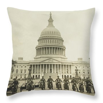 Vintage Motorcycle Police - Washington Dc  Throw Pillow by War Is Hell Store