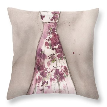 Vintage Romance Dress Throw Pillow by Lauren Maurer