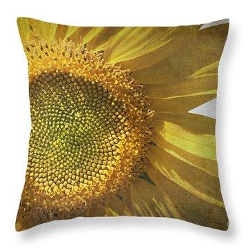 Vintage Sunflower Throw Pillow by Jane Rix