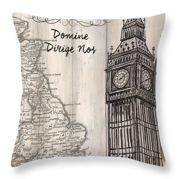 Vintage Travel Poster London Throw Pillow by Debbie DeWitt