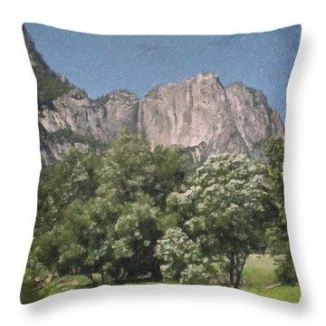 Vintage Yosemite Throw Pillow by Teresa Mucha
