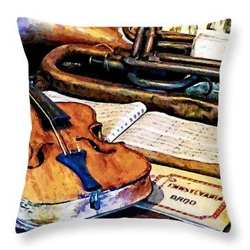 Violin And Bugle Throw Pillow by Susan Savad
