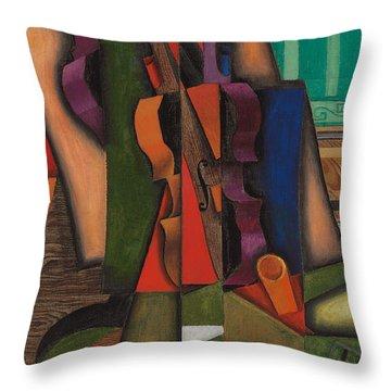 Violin And Guitar Throw Pillow by Juan Gris