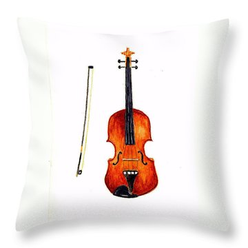 Violin Throw Pillow by Michael Vigliotti