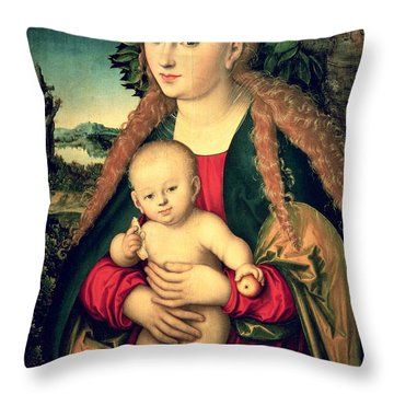 Virgin And Child Under An Apple Tree Throw Pillow by Lucas Cranach the Elder