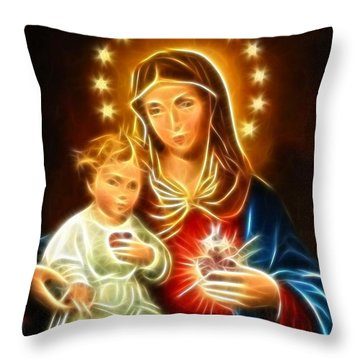 Virgin Mary And Baby Jesus Sacred Heart Throw Pillow by Pamela Johnson