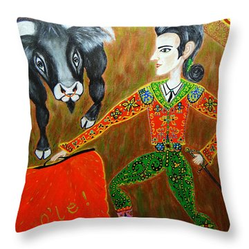 Viva Don Toreadore Throw Pillow by Marie Schwarzer