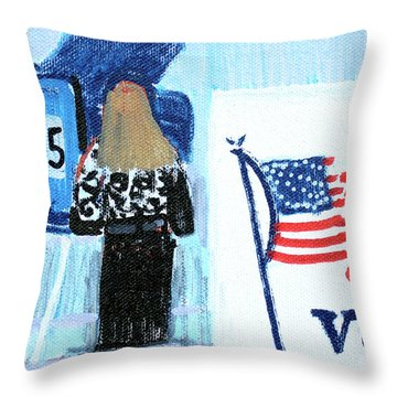 Voting Booth 2008 Throw Pillow by Candace Lovely
