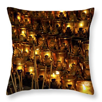 Votive Candles Throw Pillow by John Greim