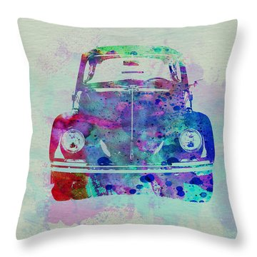Vw Beetle Watercolor 2 Throw Pillow by Naxart Studio