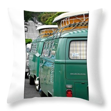 Vw Buses #carphotographer #vw #vwbus Throw Pillow by Jill Reger