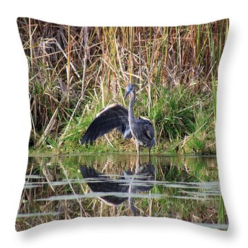 Wading In Heron Throw Pillow by Cathy  Beharriell