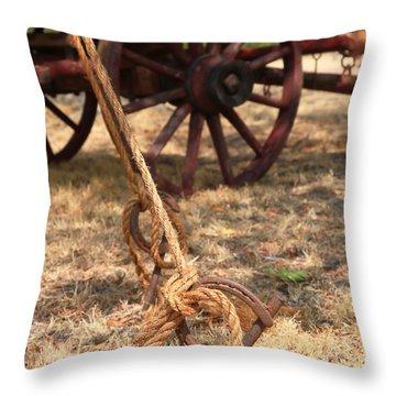 Wagon Stake Throw Pillow by Toni Hopper
