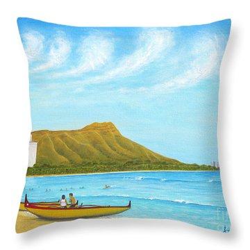 Waikiki Wonder Throw Pillow by Jerome Stumphauzer