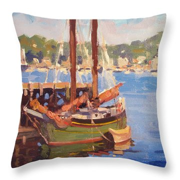 Waiting For Sunset Throw Pillow by Dianne Panarelli Miller