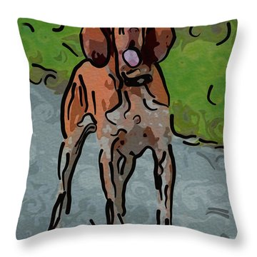 Waiting Patiently Over Here Throw Pillow by Omaste Witkowski