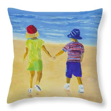 Throw Pillow featuring the painting Walk On The Beach by Rodney Campbell