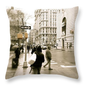 Walking New York Throw Pillow by Michael Peychich