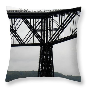 Walkway Over The Hudson  Opening Day 2009  No 13 Throw Pillow by Joseph Duba
