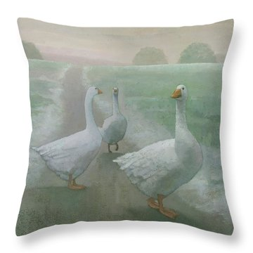 Wandering Geese Throw Pillow by Steve Mitchell