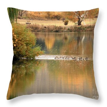 Warm Autumn River Throw Pillow by Carol Groenen