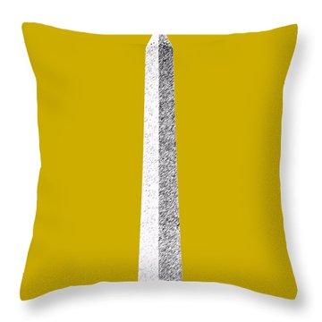 Washington Dc Skyline Washington Monument - Gold Throw Pillow by DB Artist