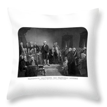 Washington Delivering His Inaugural Address Throw Pillow by War Is Hell Store