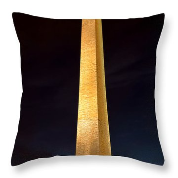 Washington Monument At Night  Throw Pillow by Olivier Le Queinec