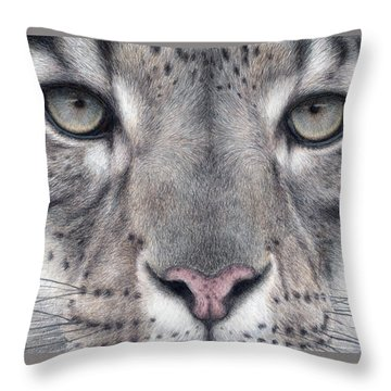 Watching You...snow Leopard Throw Pillow by Pat Erickson