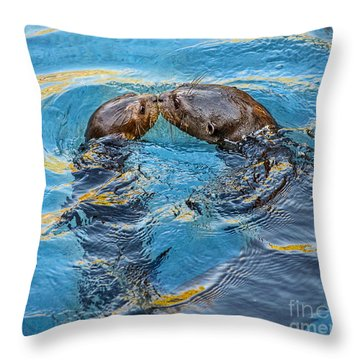 Water Kisses Throw Pillow by Jamie Pham