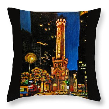 Water Tower At Night Throw Pillow by Michael Durst