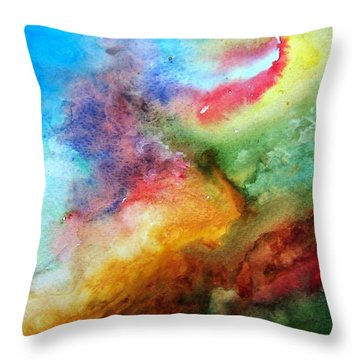 Watercolor Collage Throw Pillow by Jamie Frier