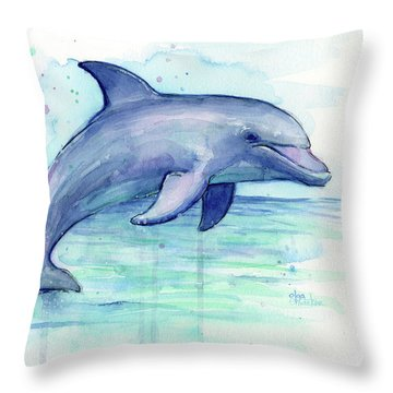 Watercolor Dolphin Painting - Facing Right Throw Pillow by Olga Shvartsur