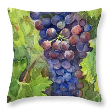 Watercolor Grapes Painting Throw Pillow by Olga Shvartsur