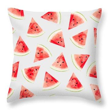 Watercolor Watermelon Pattern Throw Pillow by Uma Gokhale