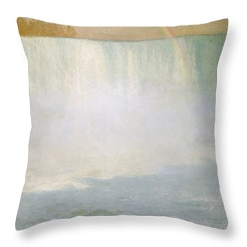 Waterfall And Rainbow At Niagara Falls Throw Pillow by Albert Bierstadt