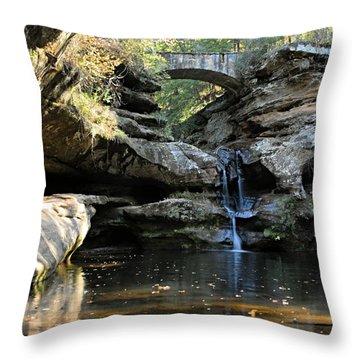 Waterfall At Old Man Cave Throw Pillow by Larry Ricker