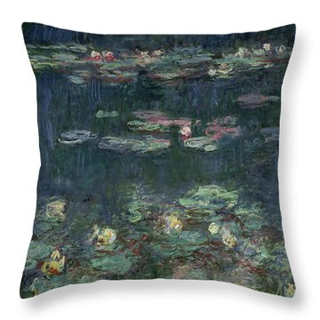 Waterlilies Green Reflections Throw Pillow by Claude Monet