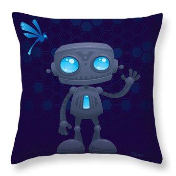 Waving Robot Throw Pillow by John Schwegel