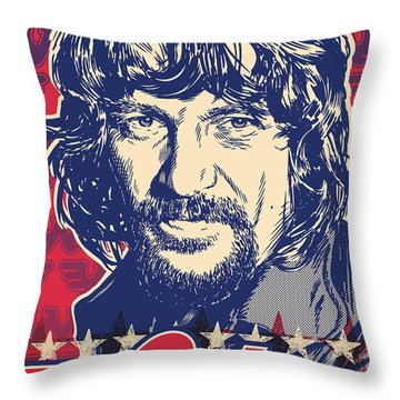 Waylon Jennings Pop Art Throw Pillow by Jim Zahniser