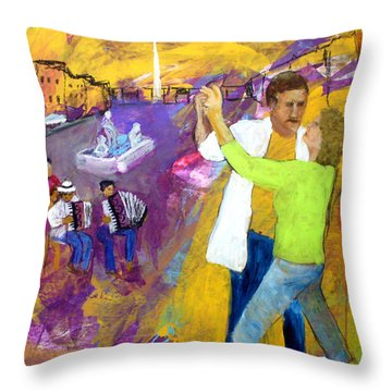 We Tangoed On The Piazza Navono Throw Pillow by Keith Thue