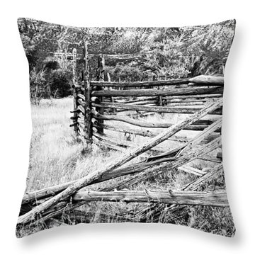 Weathered Fence Throw Pillow by Larry Ricker