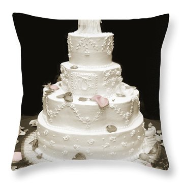 Wedding Cake Petals Throw Pillow by Marilyn Hunt