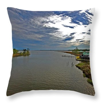 Weeks Bay At Sunset Throw Pillow by Michael Thomas