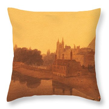 Westminster Abbey  Throw Pillow by Peter de Wint