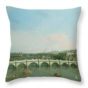 Westminster Bridge From The North With Lambeth Palace In Distance Throw Pillow by Canaletto