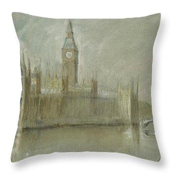 Westminster Palace And Big Ben London Throw Pillow by Juan Bosco