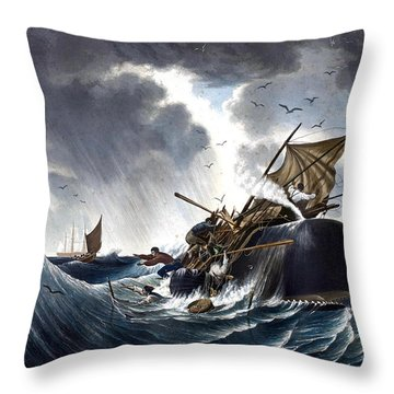 Whale Destroying Whaling Ship Throw Pillow by American School